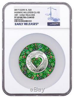 2017 Cook Is Murrine Millefiori Glass Art 20 g Silver $5 NGC PF69 UC ER SKU48111