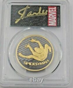 2017 Cook Islands 1oz Gold Spider-Man Coin PCGS PR69DCAM Stan Lee Signed Label