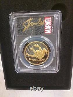 2017 Cook Islands $200 Spider-Man PCGS PR70 Stan Lee Signed COA 1 oz Gold Coin