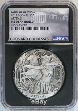 2017 Cook Islands Artemis $2 2oz Silver Gods of Olympus HR Antiqued NGC MS70