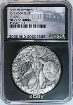 2017 Cook Islands Athena $2 2oz. 999 Silver Gods of Olympus HR Antiqued NGC MS70