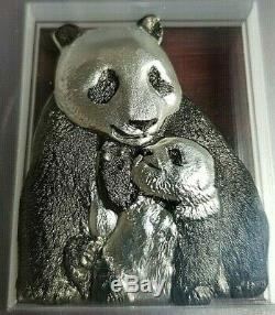 2017 Cook Islands Lucky Panda with Antique Finish 88 grams. 999 Silver! PCGS MS69