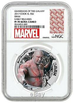 2017 Cook Islands Marvel Guardians of Galaxy DRAX. 999 Silver coin NGC PR70