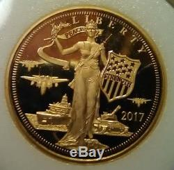 2017 Cook Islands Peace Through Strength $25 Proof Gold Coin Marked 1/2 Oz