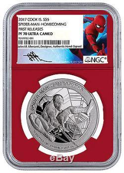 2017 Marvel Spider-Man Homecoming 1oz Silver $1 Red NGC PF70 UC FR SKU48301
