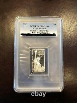 2017 PCGS PR70 DCAM Cook Islands Statue of Liberty 2oz Bar-First Day! ONLY 108