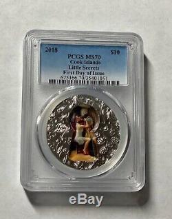 2018 $10 Cook Islands Little Secrets 2oz. 999 Silver Coin PCGS MS70 FD Rare
