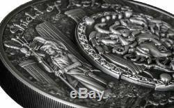 2018 2 Oz Silver $10 SHIELD OF ATHENA Aegis Mythology Ultra High Relief Coins
