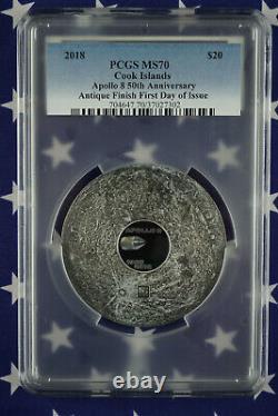 2018 $20 Apollo 8 50th Ann. 999 Silver 3oz PCGS MS70 First Day of Issue COA+Box