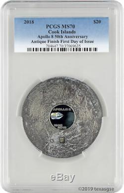 2018 $20 Cook Islands Apollo 8 50th Ann. 3oz Silver Antiqued Coin PCGS MS70 FD