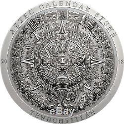2018 $20 Cook Islands Aztec Calendar Stone 3oz. 999 Silver Antiqued Coin