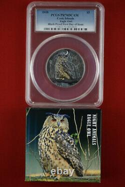 2018 $5 Cook Island 1oz. 999 Silver Black Proof Eagle Owl PCGS PR70 FDI COA+Box