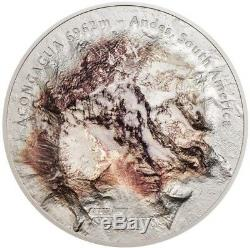 2018 5 Oz Silver Cook Island $25 ACONCAGUA SOUTH AMERICA ANDES, 7 Summits Coin