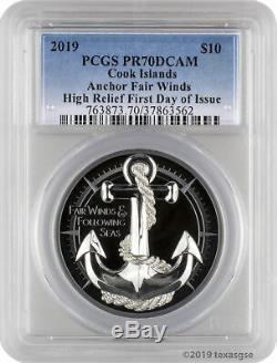 2019 $10 Cook Islands Anchor Fair Winds 2oz. 999 Silver Coin PCGS PR70DCAM FD