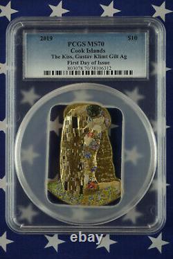 2019 $10 Cook Islands Klimt 2oz Gilded. 999 Silver Coin PCGS MS70 FDI COA + Box