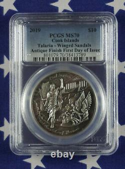 2019 $10 Cook Islands Winged Sandals of Hermes 2oz. 999 Silver PCGS MS70 COA+Box