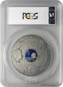 2019 $20 Cook Islands Apollo 11 50th Ann. 3oz Silver Antiqued Coin PCGS MS70 FD