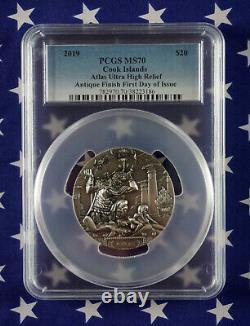 2019 $20 Cook Islands Atlas 3oz Antiqued. 999 Silver Coin PCGS MS70 FDI COA+Box