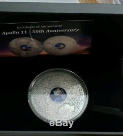 2019 3 Oz Silver $20 Cook Island APOLLO 11 50TH ANNIVERSARY Coin WITH COA #1