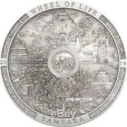 2019 3 Oz Silver $20 Cook Island SAMSARA WHEEL LIFE Archeology Symbolism Coin