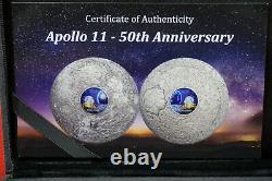 2019 Apollo 11 50th Ann. 999 Silver 3oz PCGS MS70 First Day of Issue COA+Box