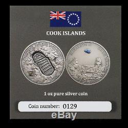 2019 Cook Islands 1 oz Silver Moon Landing Footprint (Meteorite) SKU#191188