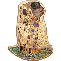 2019 Cook Islands 2 Ounce Klimt The Kiss 3D Minted Gold Gilded. 999 Silver Coin