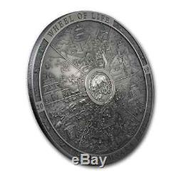 2019 Cook Islands 3 oz Antique Silver Samsara Wheel of Life SKU#200457