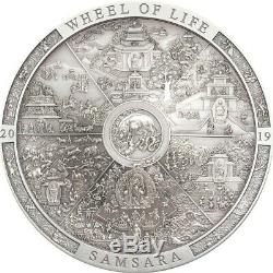 2019 Cook Islands 3 oz Samsara Wheel of Life High Relief. 999 Silver Coin