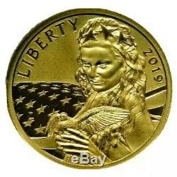 2019 Cook Islands $5 Liberty. 24 Gold 1/10 oz Collectible Historical Peace Coin