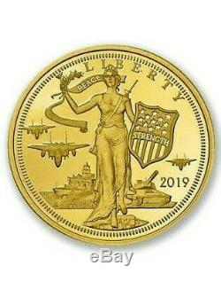 2019 Cook Islands $5 Liberty Peace Strength 24% Gold 1/10th Ounce Coin