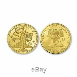 2019 Cook Islands $5 Liberty Peace Strength 24% Gold 1/10th Ounce Proof Coin