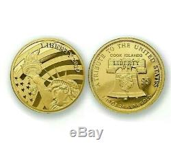 2019 Cook Islands $5 Statue of Liberty 24% Gold 1/10 oz Proof collector Coin