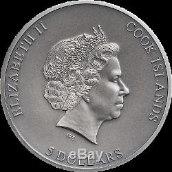 2019 Cook Islands $5 Trapped High Relief 1oz Silver Antiqued Coin