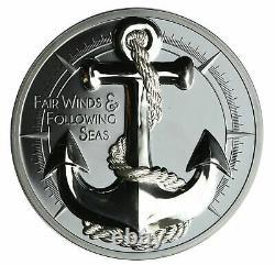 2019 Cook Islands Anchor Fair Winds 2oz Silver Coin Black Proof Box & COA -999