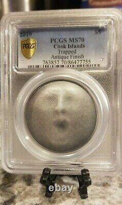 2019 Cook Islands PCGS MS70 Trapped $5 silver coin withbox & COA. POP of 4