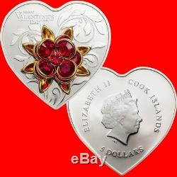 2019 Happy Valentine's Day Silver Proof Coin Swarovski Crystal Rose Cook Island