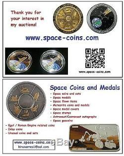 2019 MOON LANDING, Footprint with Moon Meteorite, 1oz, 5$ Cook Islands