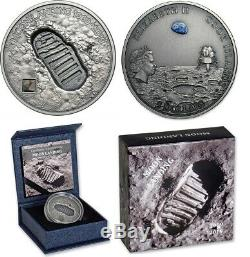 2019 MOON LANDING, cook islands, Meteorite 1 oz Silver Coin
