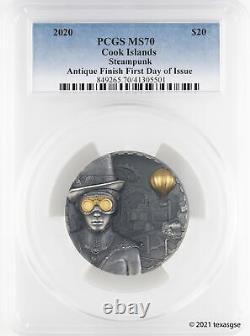 2020 $20 Cook Islands 3oz Antiqued Silver Steampunk High Relief PCGS MS70 FDI