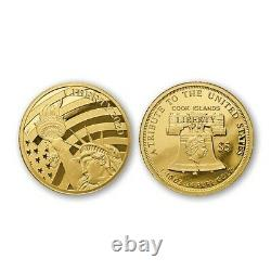2020 $5 1/10 oz. 24 Fine=6K Cook Islands Statue of Liberty Coin 24%