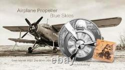 2020 Airplane Propeller Blue Skies 2oz Silver Black Proof Coin