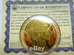 2020 Buffalo of Cook Islands GOLD $25 Pure. 9999 Gold coin 1200mg 58mm COA