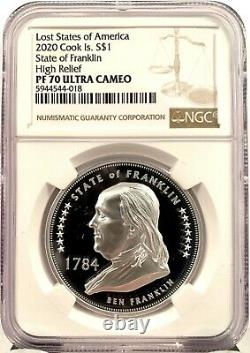 2020 Cook Islands $1 Lost States of America Franklin 1 oz Silver Coin NGC PF 70