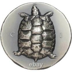 2020 Cook Islands 1 oz Tortoise Ultra High Relief Antique Finish Silver Coin