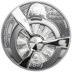 2020 Cook Islands $10 2oz Silver Airplane Propeller Black High Relief Proof Coin
