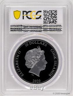2020 Cook Islands $10 Airplane Propeller 2oz Silver Black Proof Coin PCGS PR70