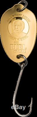 2020 Cook Islands $20 Buel Spoon Fishing Lure Shaped 1/10 oz Gold Coin