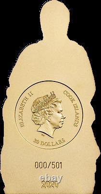 2020 Cook Islands $20 Madonna of Bruges 3oz Gilded Silver Coin
