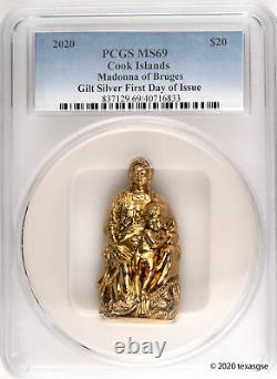 2020 Cook Islands $20 Madonna of Bruges 3oz Gilded Silver Coin PCGS MS69 FDI